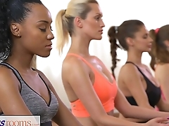 FitnessRooms Groups yoga session ends with a sweaty creampie
