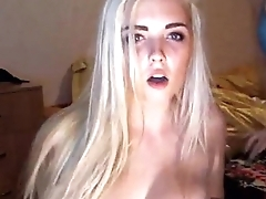 Blonde with big boobs flashing on webcam