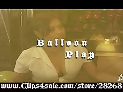 Anita Mann blowing up and sucking balloons in &quot_Balloon Play&quot_