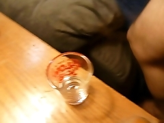 Hairy Middle Aged Guy Cums in Shot Glass