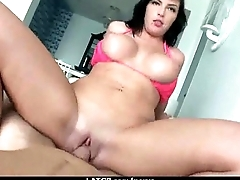 Busty amateur is talked into some rough doggy sex 14