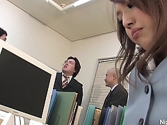 Japanese babe gets fucked in be transferred to office