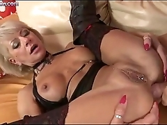 A strange blond Milf gets fucked by a big dick