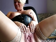 Short Haired Blonde MILF Spreading and Masturbating Pussy on Webcam