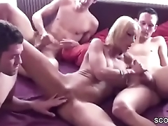 German Mom Seduce to Fuck by Step-Son coupled with Two Friends