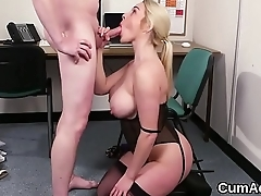 Sexy doll gets cumshot on her face swallowing all the charge