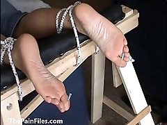 Extreme foot fetish increased by feet needle bdsm of mature amateur slave girl in harsh m