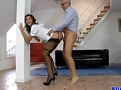 Euro nurse fucked from behind straight up and down