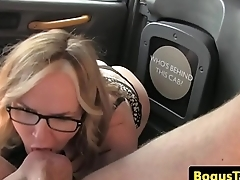 Busty spex Britt pussyfucked by taxi upstairs maid