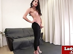 Busty ladyboy wanking dimension analfingering