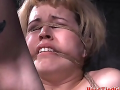 Roped bdsm submissive caned following toying