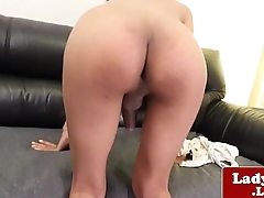 Ladyboy dreamboat Nug strips and jerks her cock