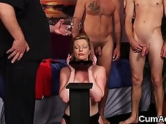 Frisky model gets cum load on her face swallowing all the sperm