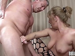 German milf swell up cock in excess of her knees