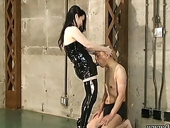 Japanese Femdom Towa hit the crush to the slave'_s penis