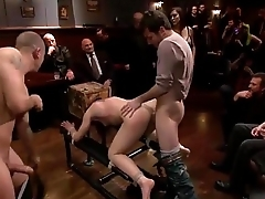 Submissive girl reduced to a three holed whore on public.