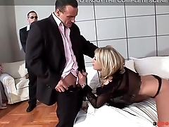 A Good Release Sexy Blonde bitchdevours 3 cocks in the air triple penetration
