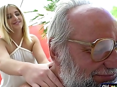 Russian beauteous hottie Aria Logan give a massage to a grandpa