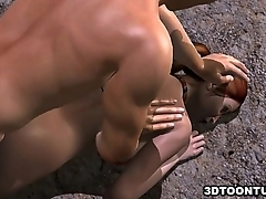 Foxy 3D babe getting her tits plus pussy pounded hard