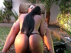 Tranny beauty sucks studs cock before getting her ass nailed