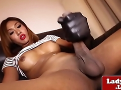 Asian ladyboy jerking in heels