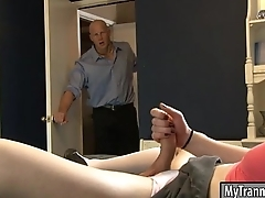 Sexy brunette shemale Jacqueline Motherland gets her aggravation banged